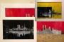 SKYLINE trilogia nero-giallo-rosso -su supporto in lastra acrilica